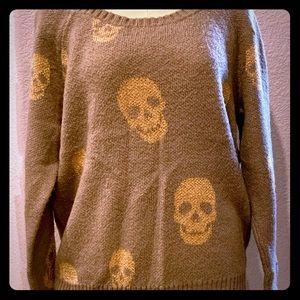 Torrid Grey & Gold Skull sweater